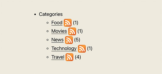 Category list with RSS feed subscription icon