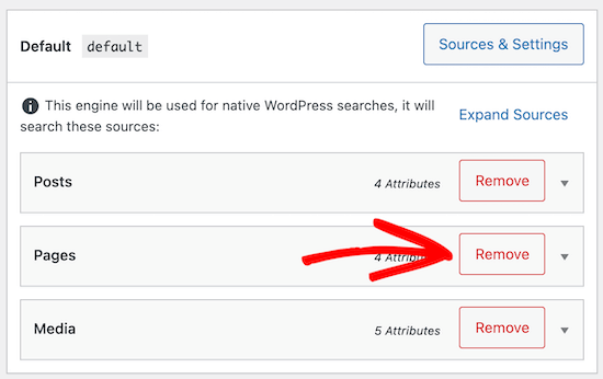 Fare clic sul pulsante per rimuovere l'origine della pagina