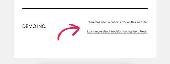 Critical error in WordPress