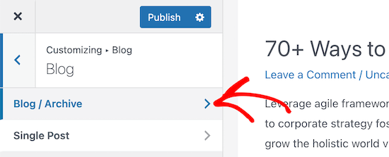 Click blog and archive menu option