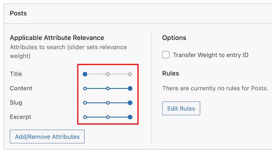 Personalizza il peso del motore di ricerca