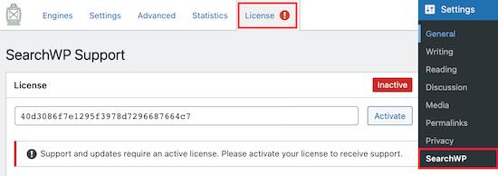 Inserisci la chiave di licenza di SearchWP