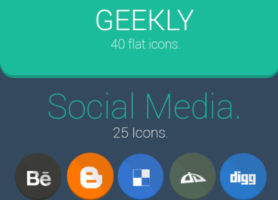 Geekly flat and social icons