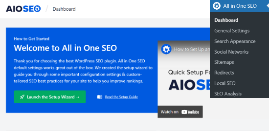 Launch setup wizard from AIOSEO dashboard
