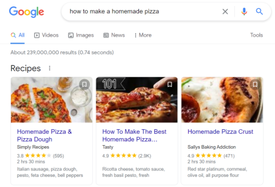 Recipe snippet in Google