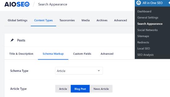 Schema markup in AIOSEO settings