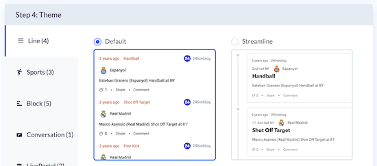 Select live blogging theme