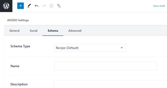 Select schema tab in AIOSEO settings