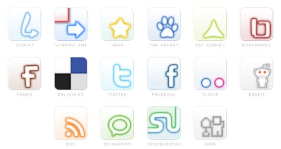 Social glow icon set