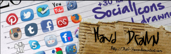 Social icons hand drawn