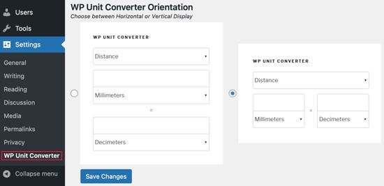 Visit Settings » WP Unit Converter