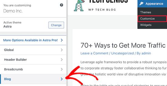 Go to WordPress customizer click blog